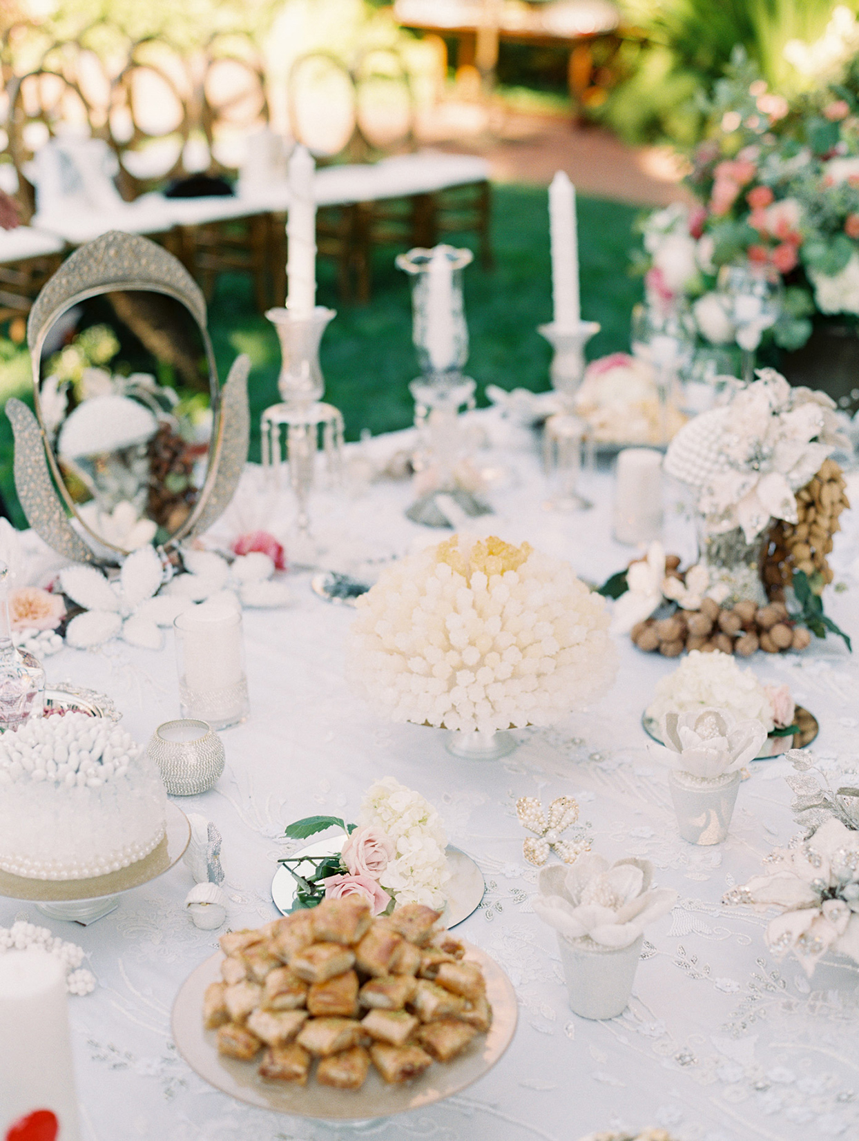 wedding sofreh on elegant white beaded table