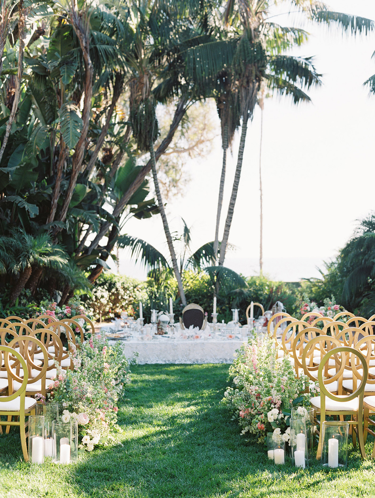wedding outdoor ceremony set up in garden