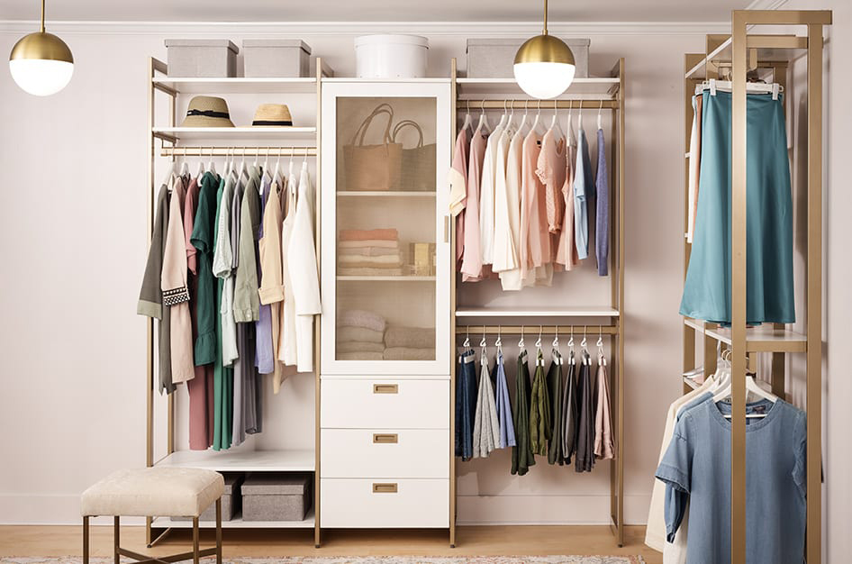 martha stewart the everyday system six-foot hanging and three drawer cabinet with door cabinet closet