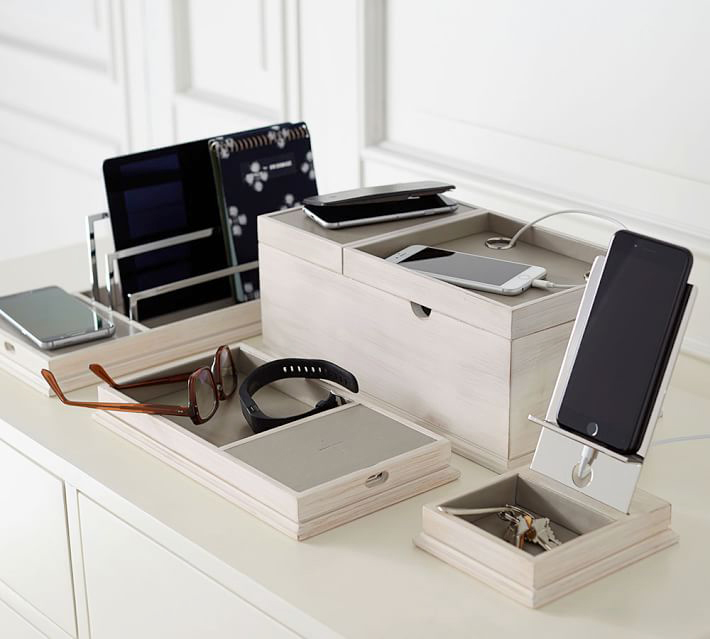 pottery barn wireless charging station with usb port