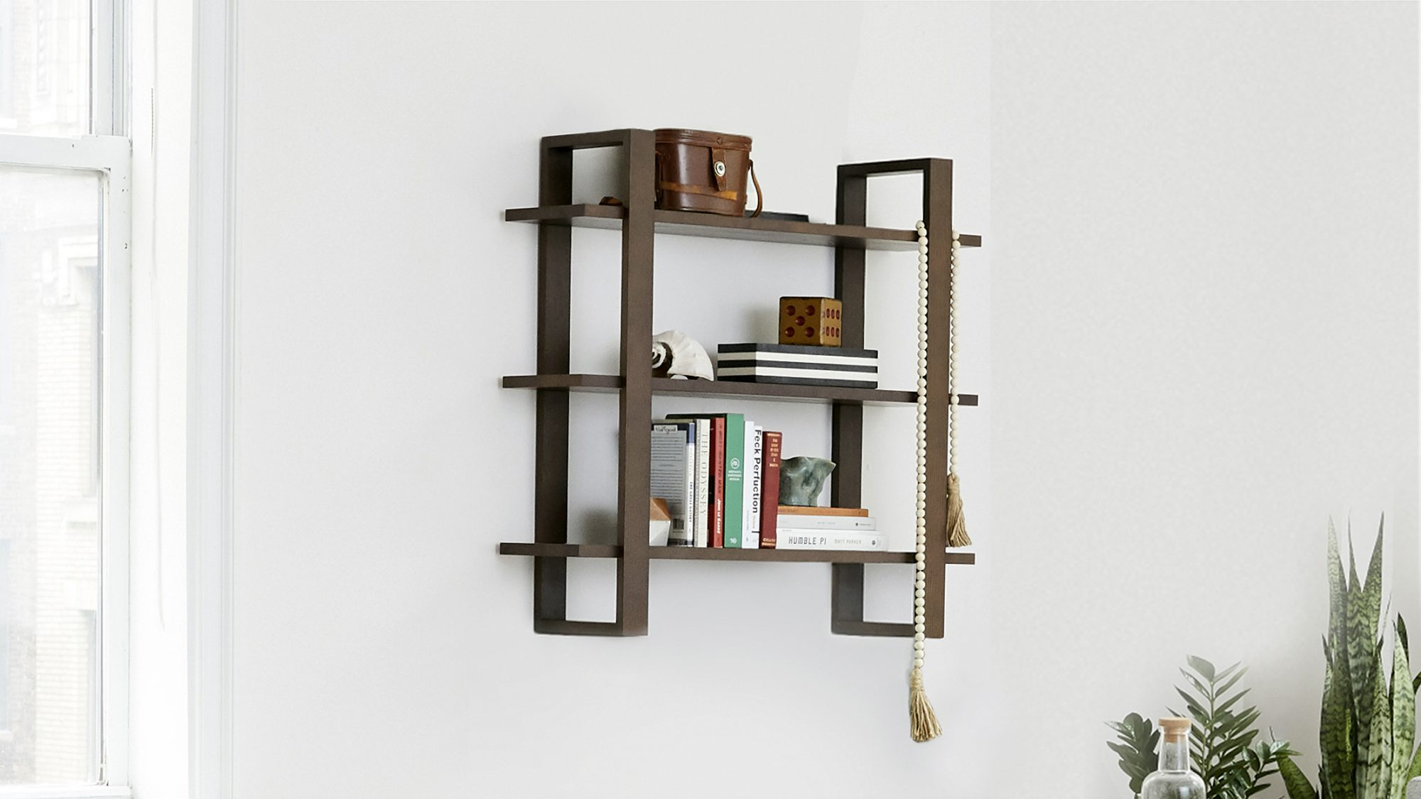 burrow modular shelves in walnut