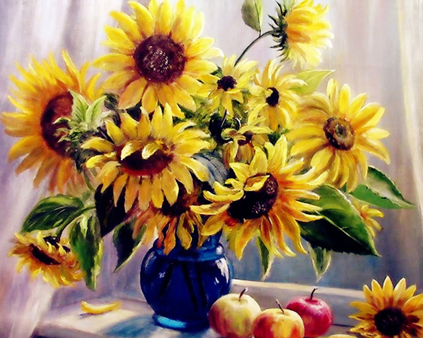 Paint by number sunflowers in blue vase