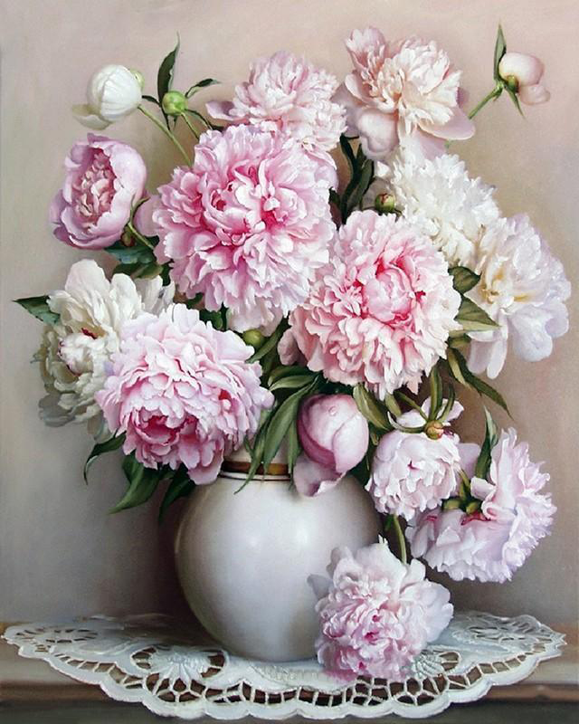 Paint by number pink and white flowers in vase