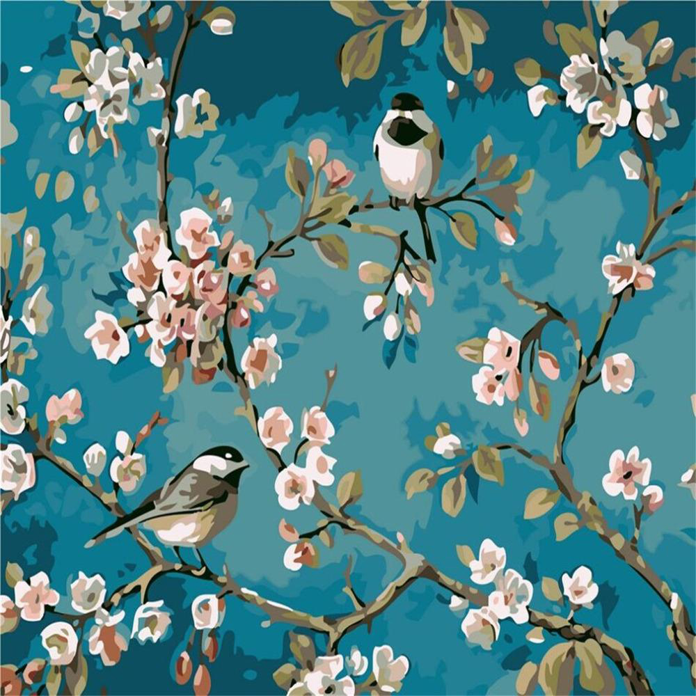 Paint by number birds on branches