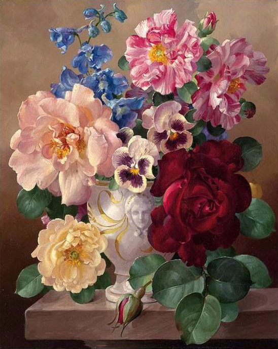 Paint by number large flowers in vase