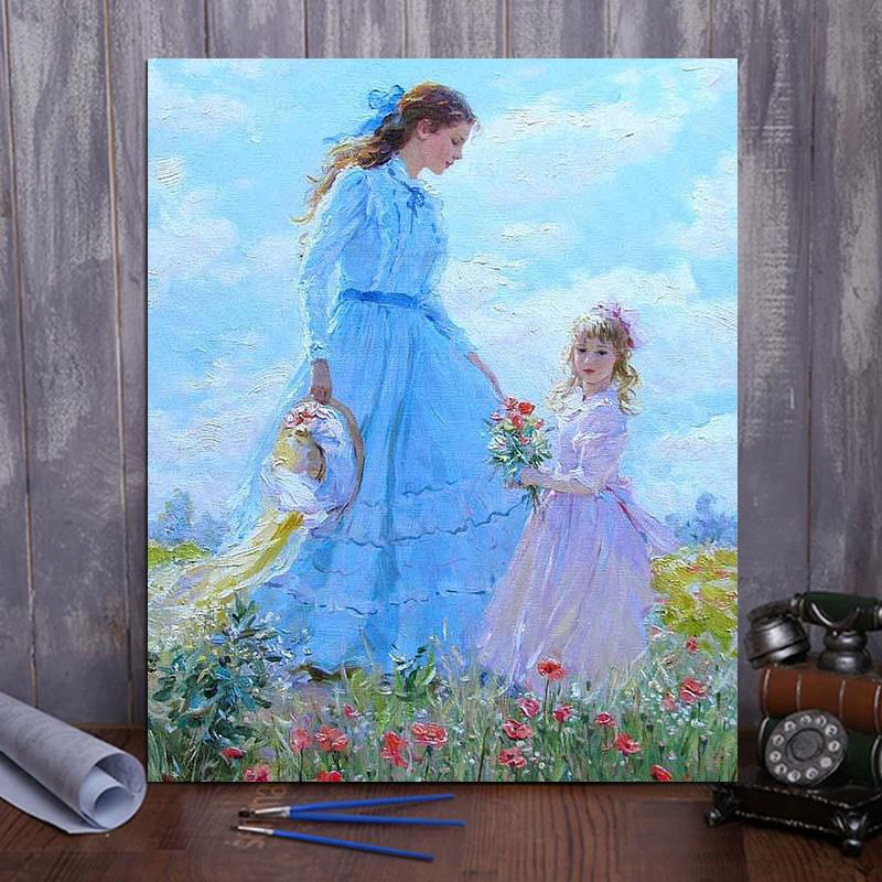 Paint by number mother and daughter