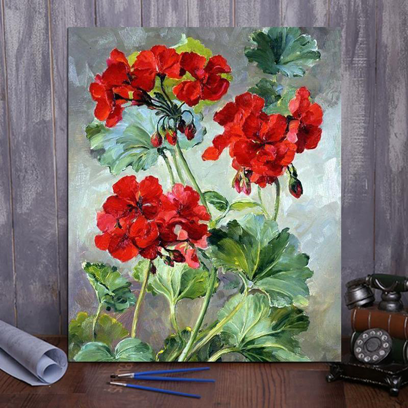 Paint by number red Geraniums
