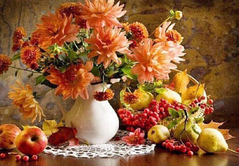 Paint by number orange flowers and fruit