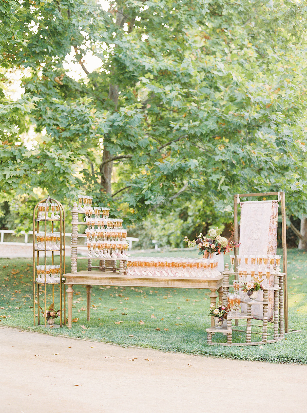 wedding champagne display on wooden table and gold metal stands