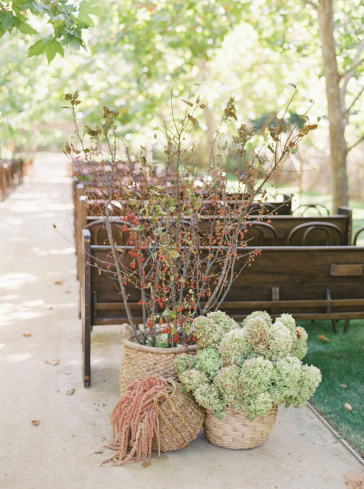 wooden church pews outside ceremony with rustic fall flowers