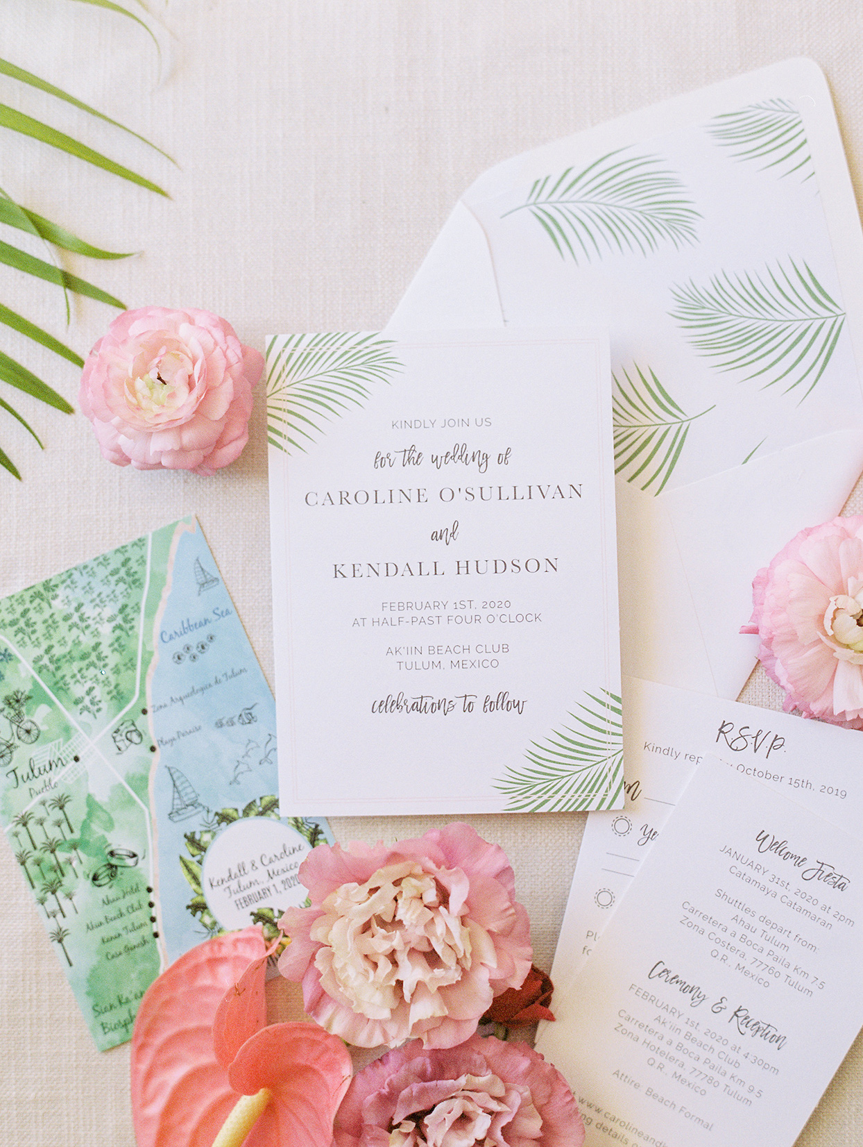 pastel tropical wedding invitations with flowers