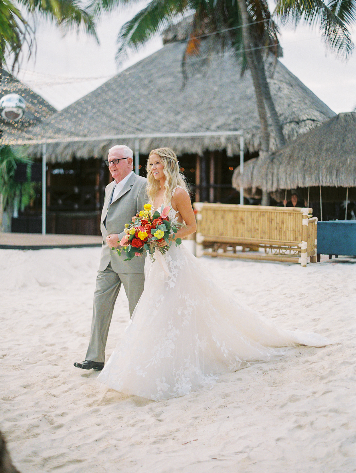 bride and father processing at beach wedding
