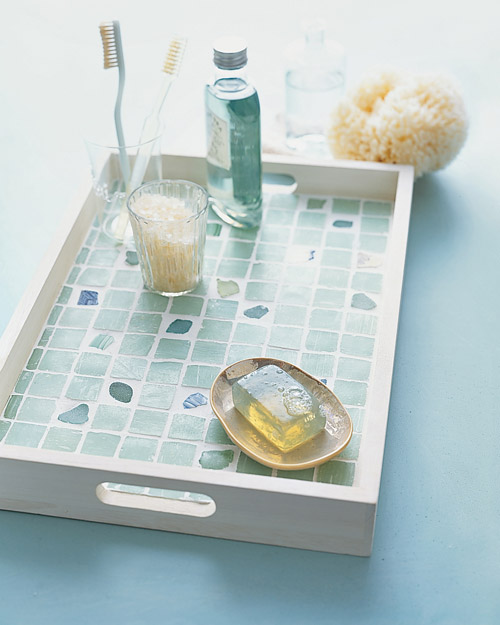 sea-glass tray with blue tile design