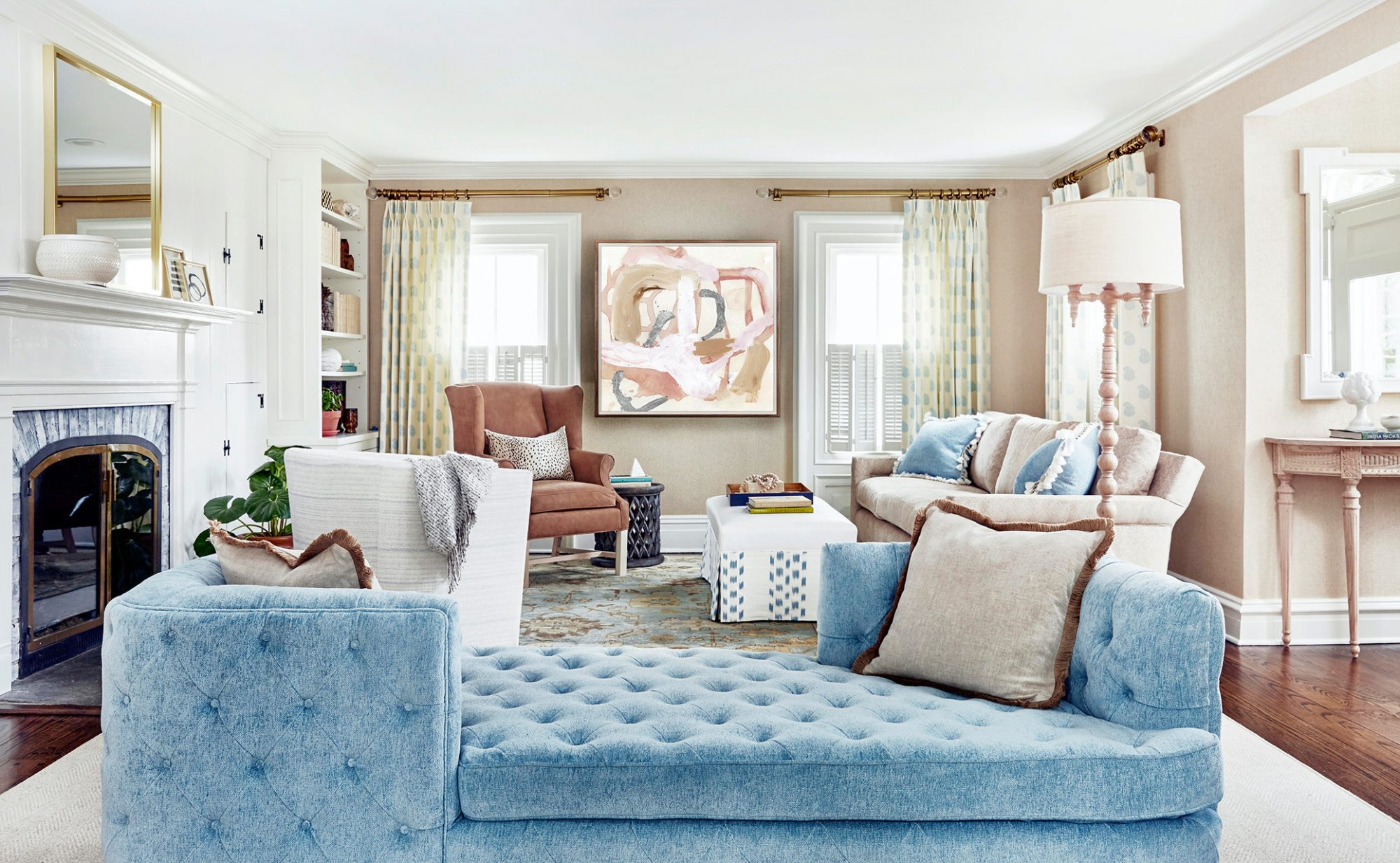 powder blue sofa in living room
