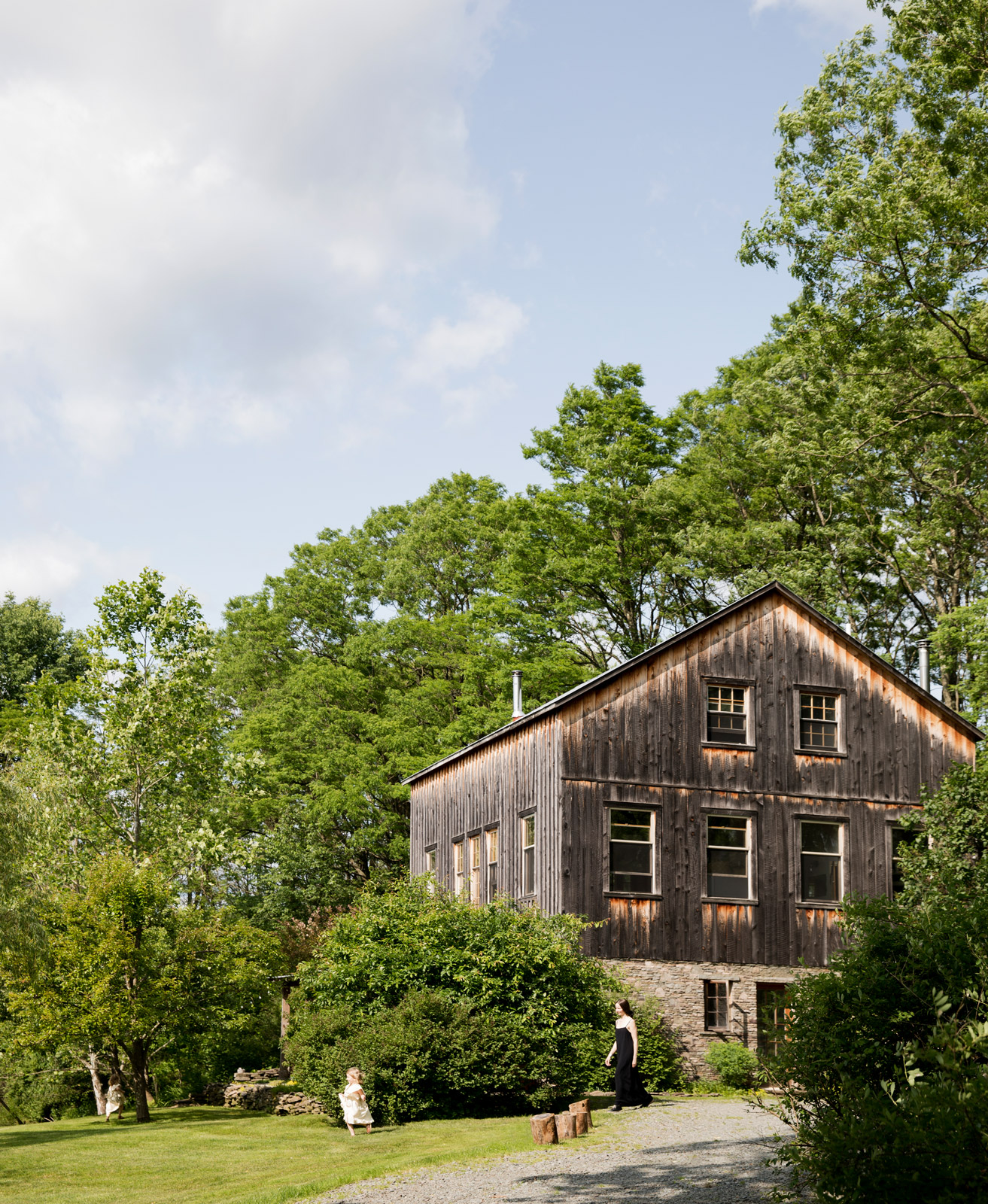 Rustic house exterior among trees