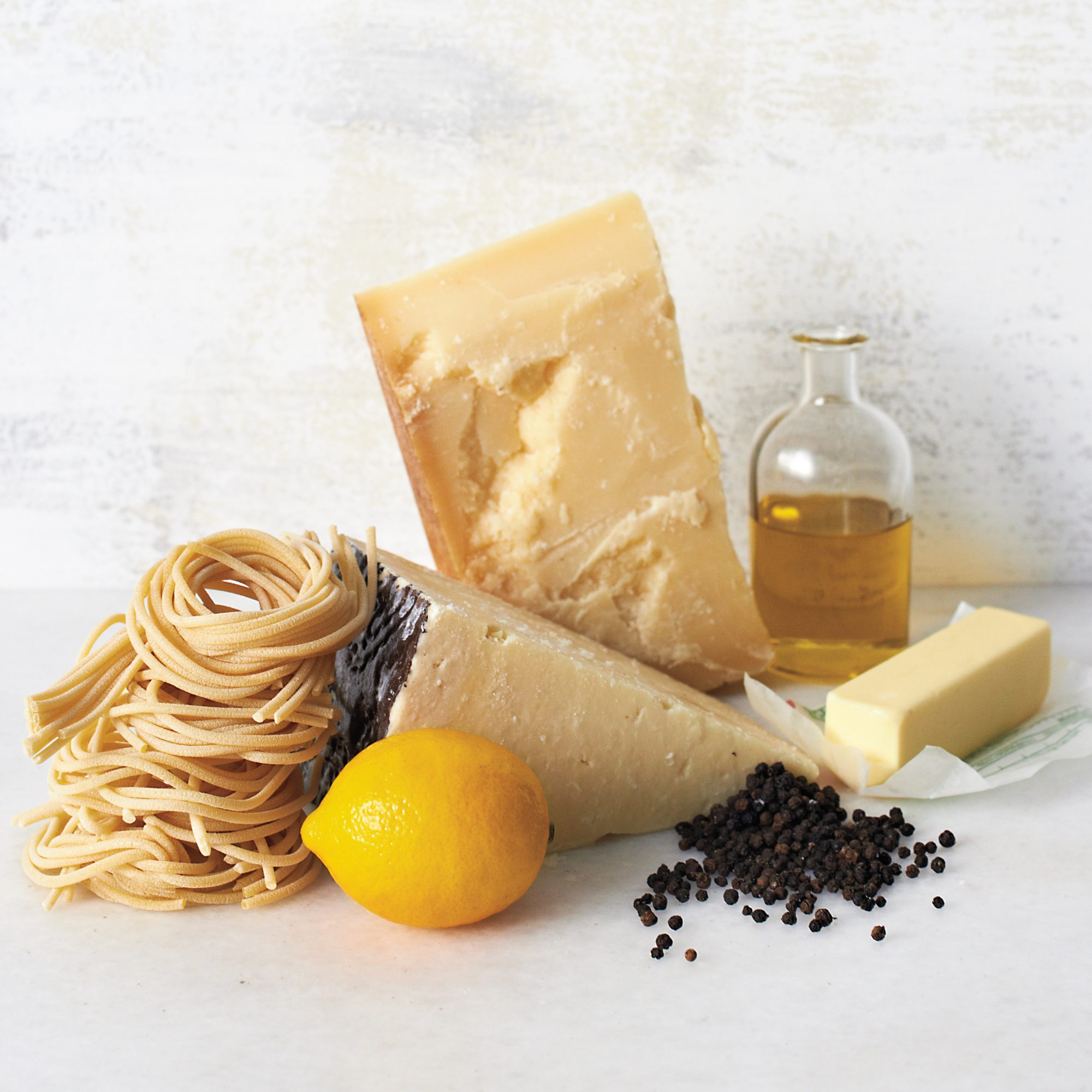 pasta, cheese, butter, olive oil, pepper