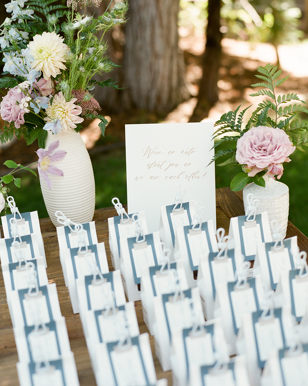 escort cards wedding favor bags with clip