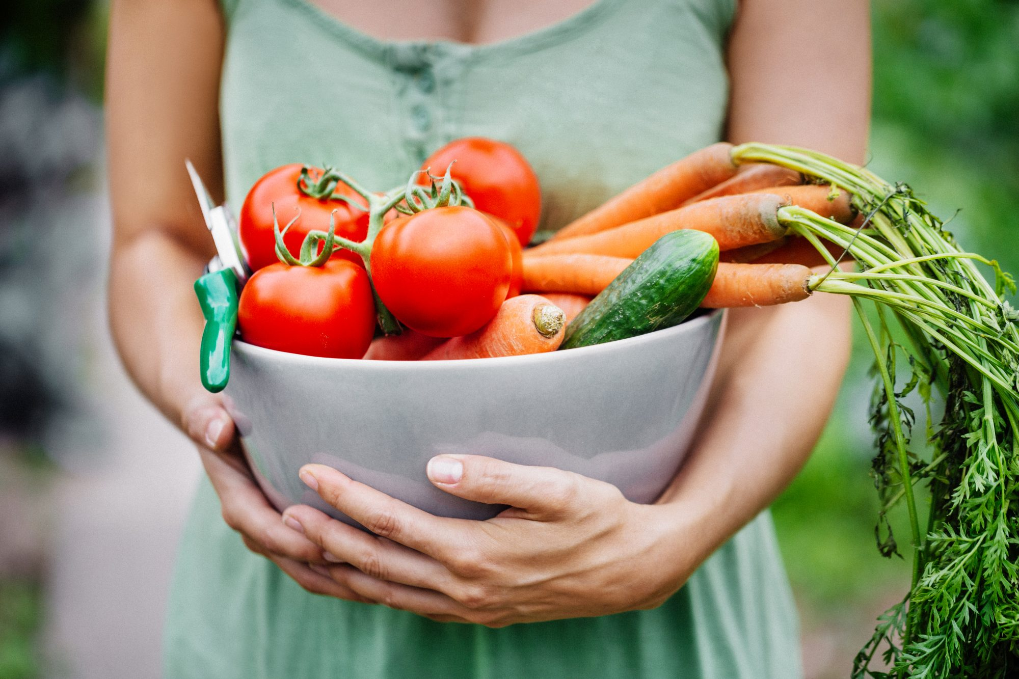 woman holding bowl of vegetables from garden