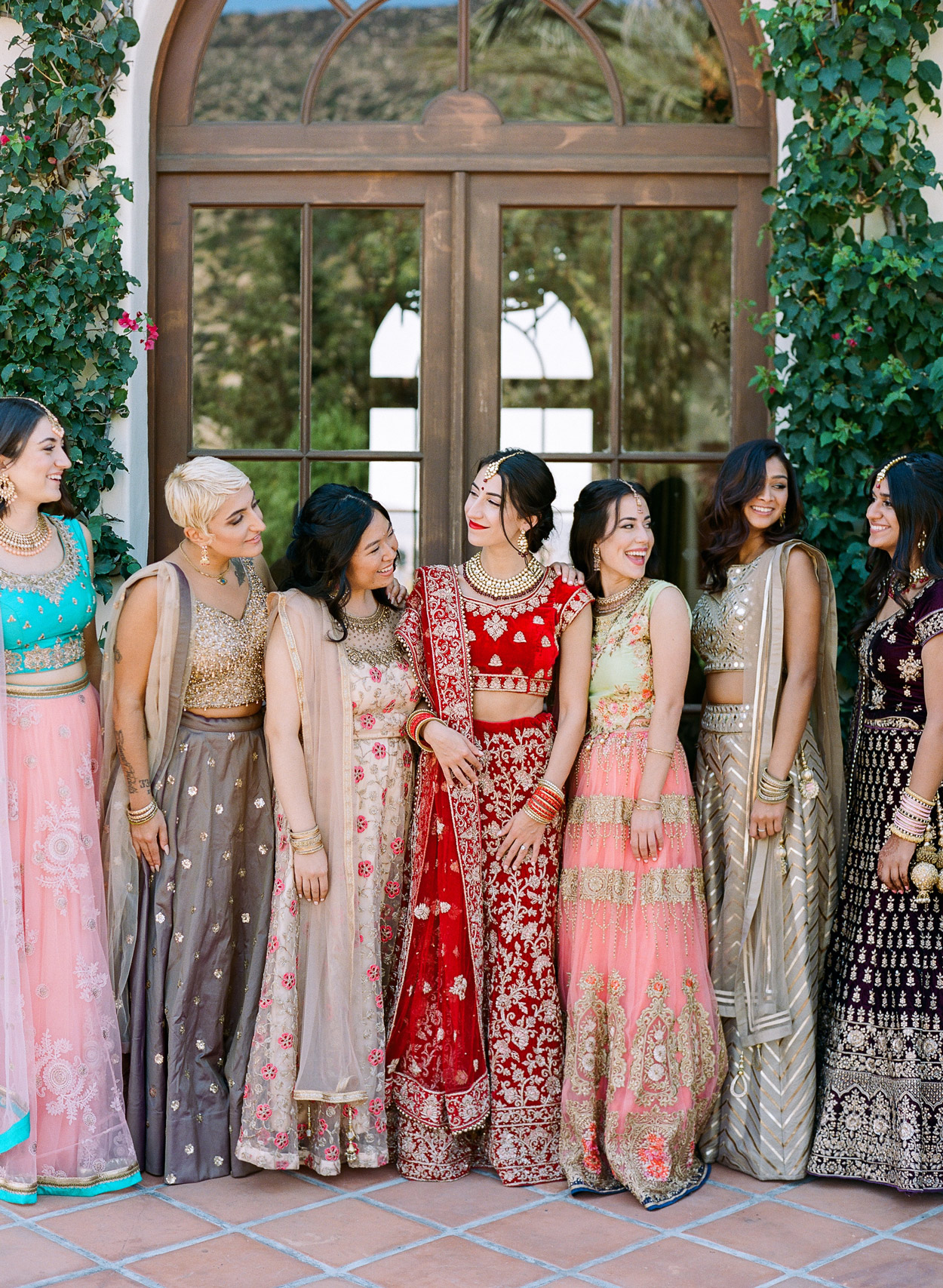 Sasha with bridesmaids for Indian ceremony