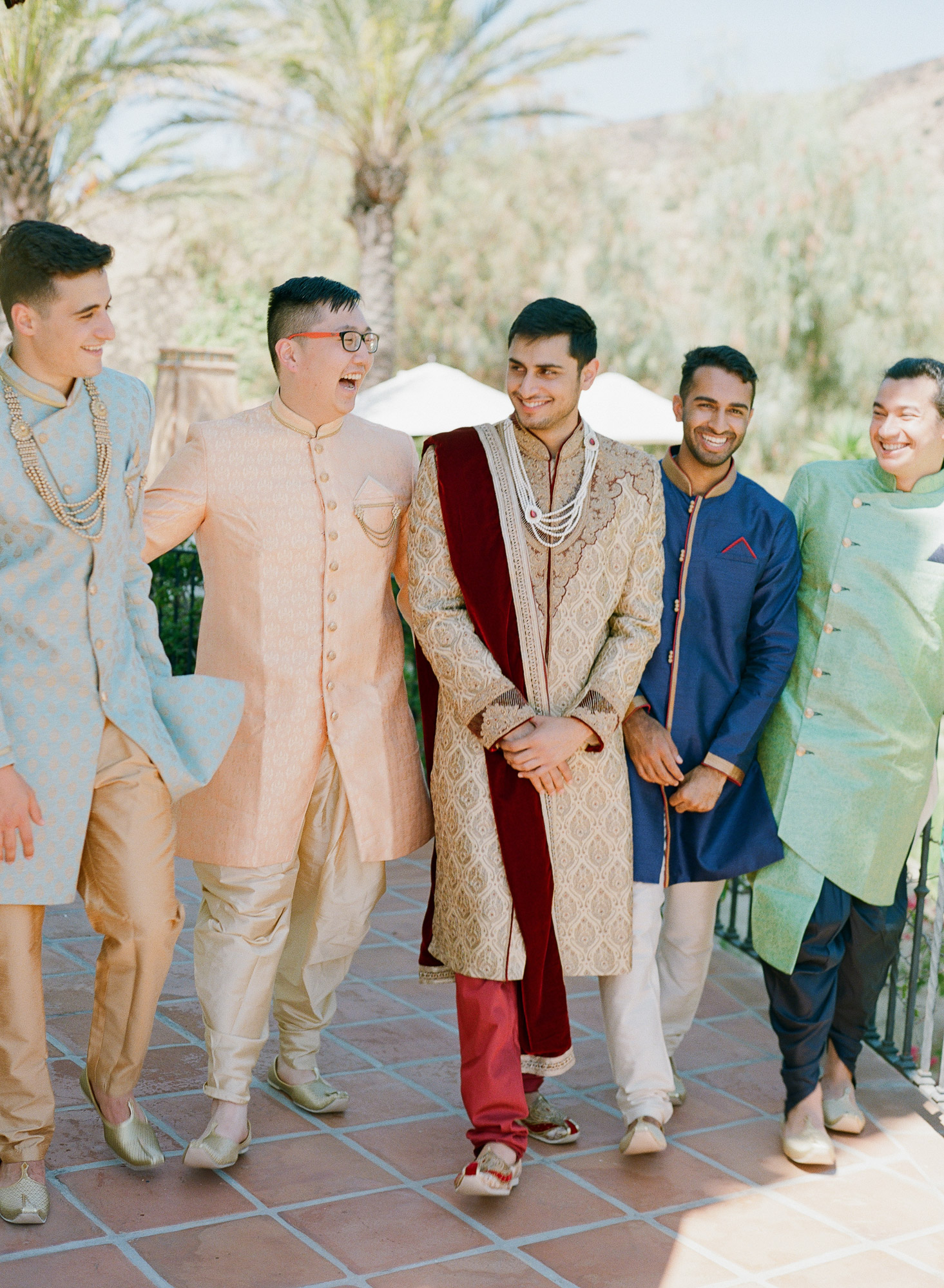 Aneesh with groomsmen during Indian ceremony