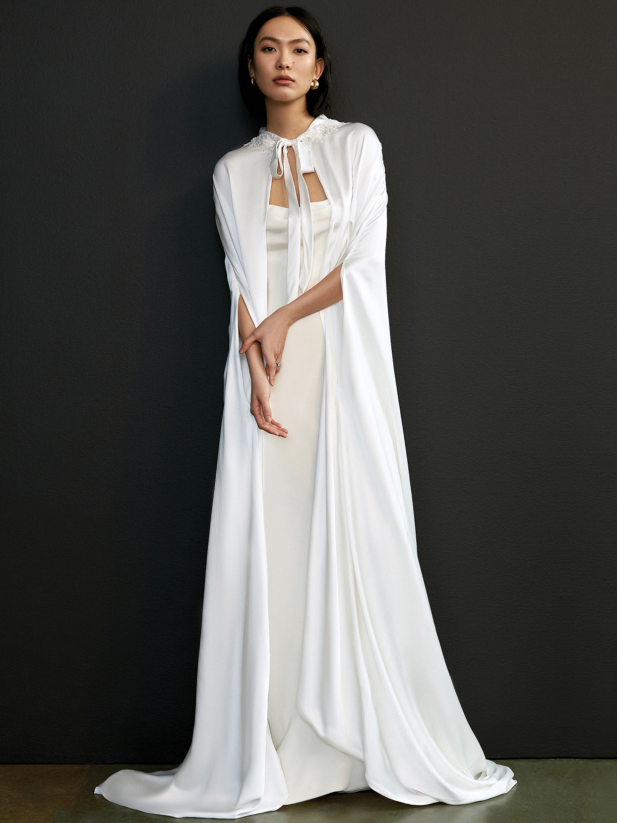 savannah miller long cape a-line wedding dress spring 2021