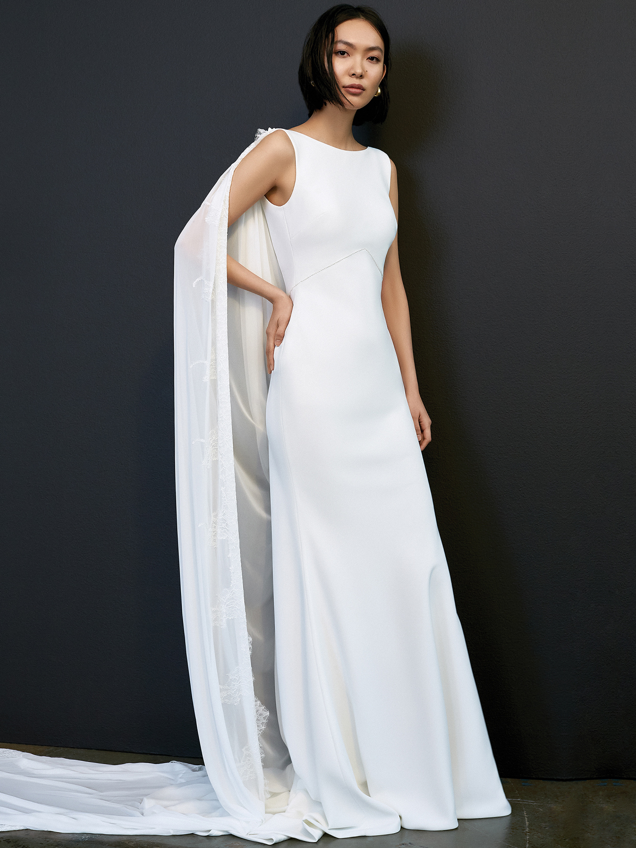 savannah miller high neck sleeveless cape wedding dress spring 2021