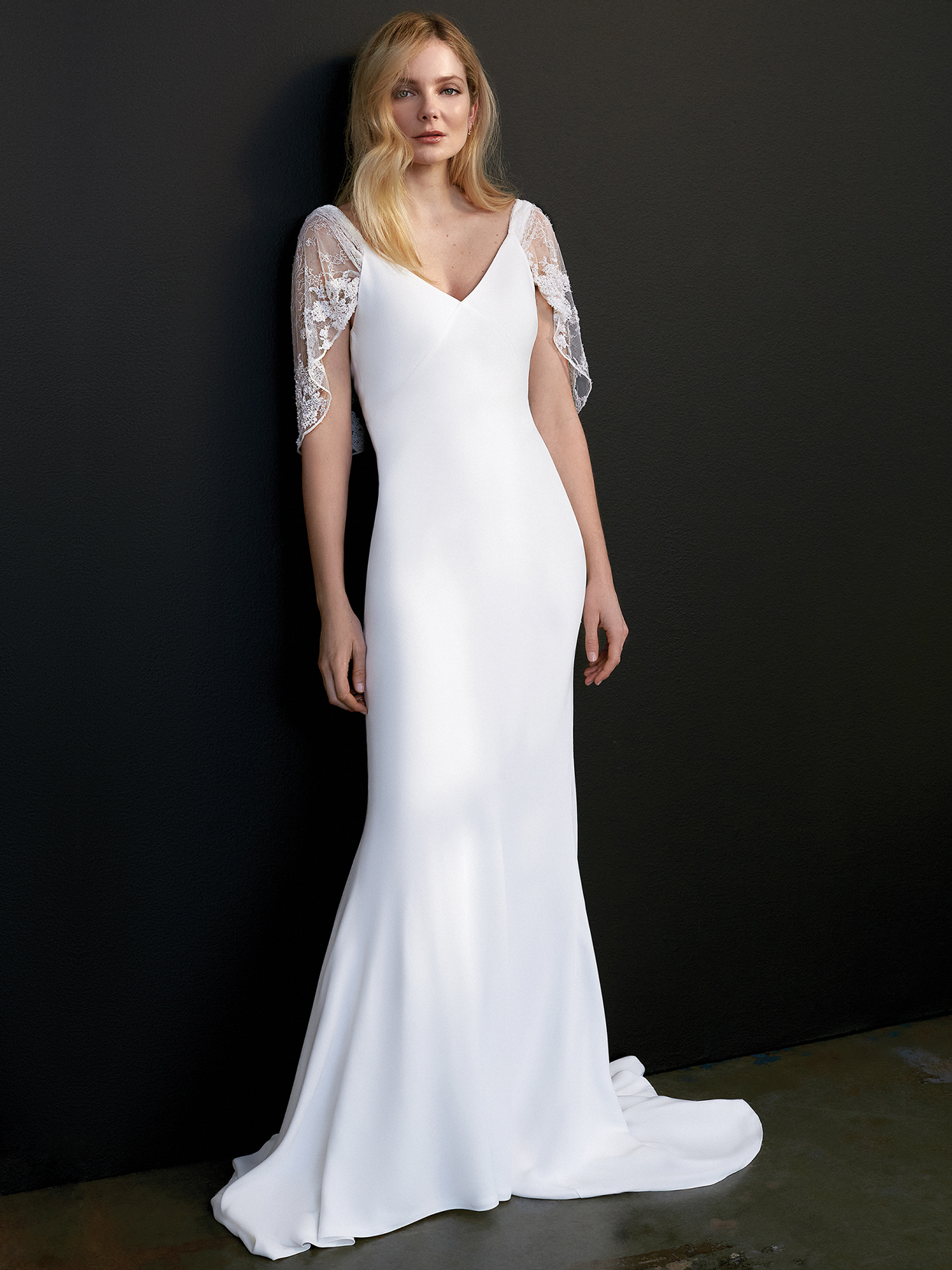 savannah miller flutter sleeve v-neck wedding dress spring 2021