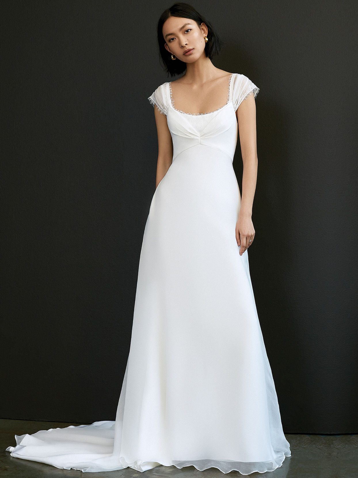 savannah miller cap sleeve scoop neck wedding dress spring 2021