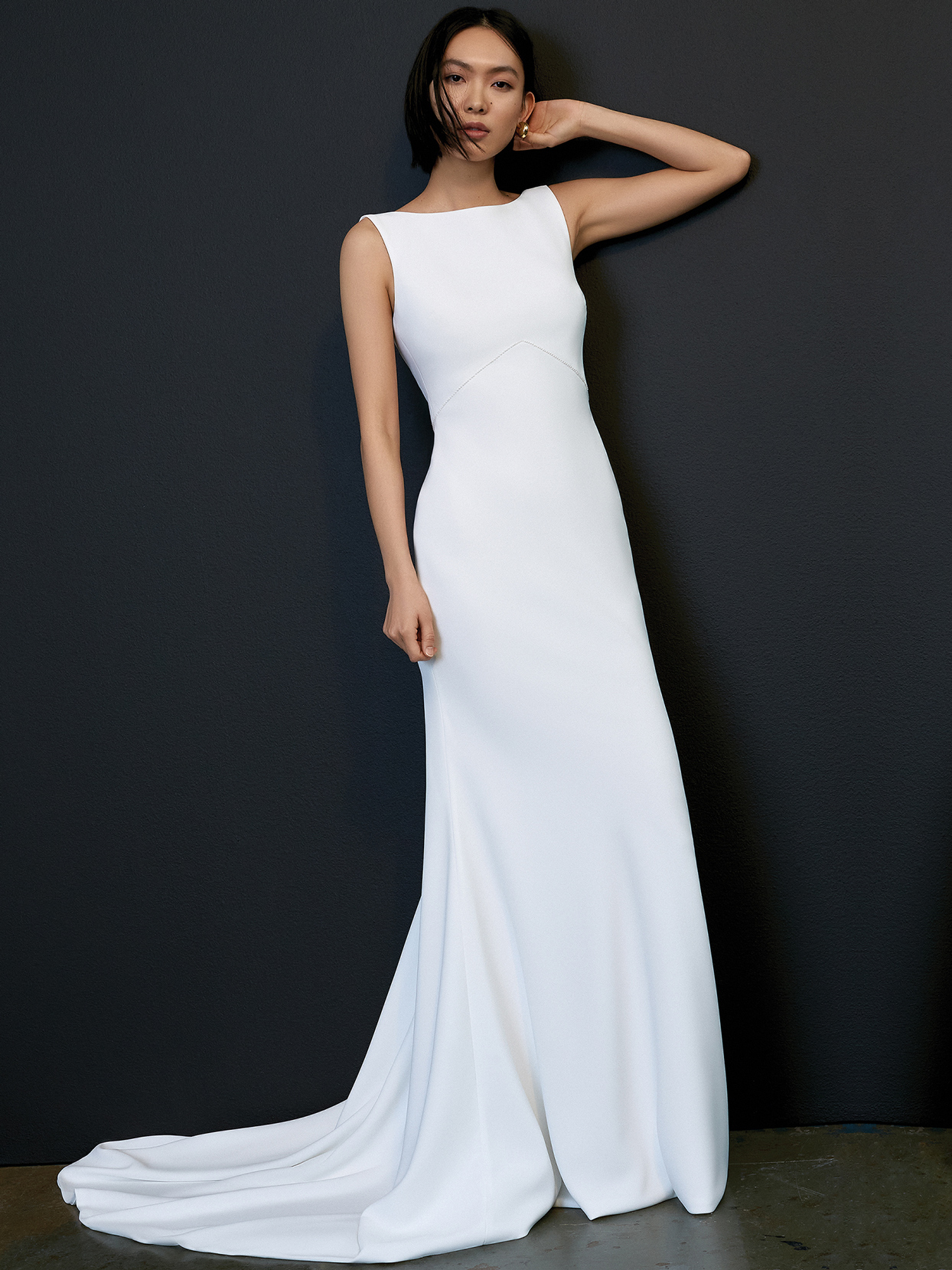 savannah miller high neck sleeveless train wedding dress spring 2021
