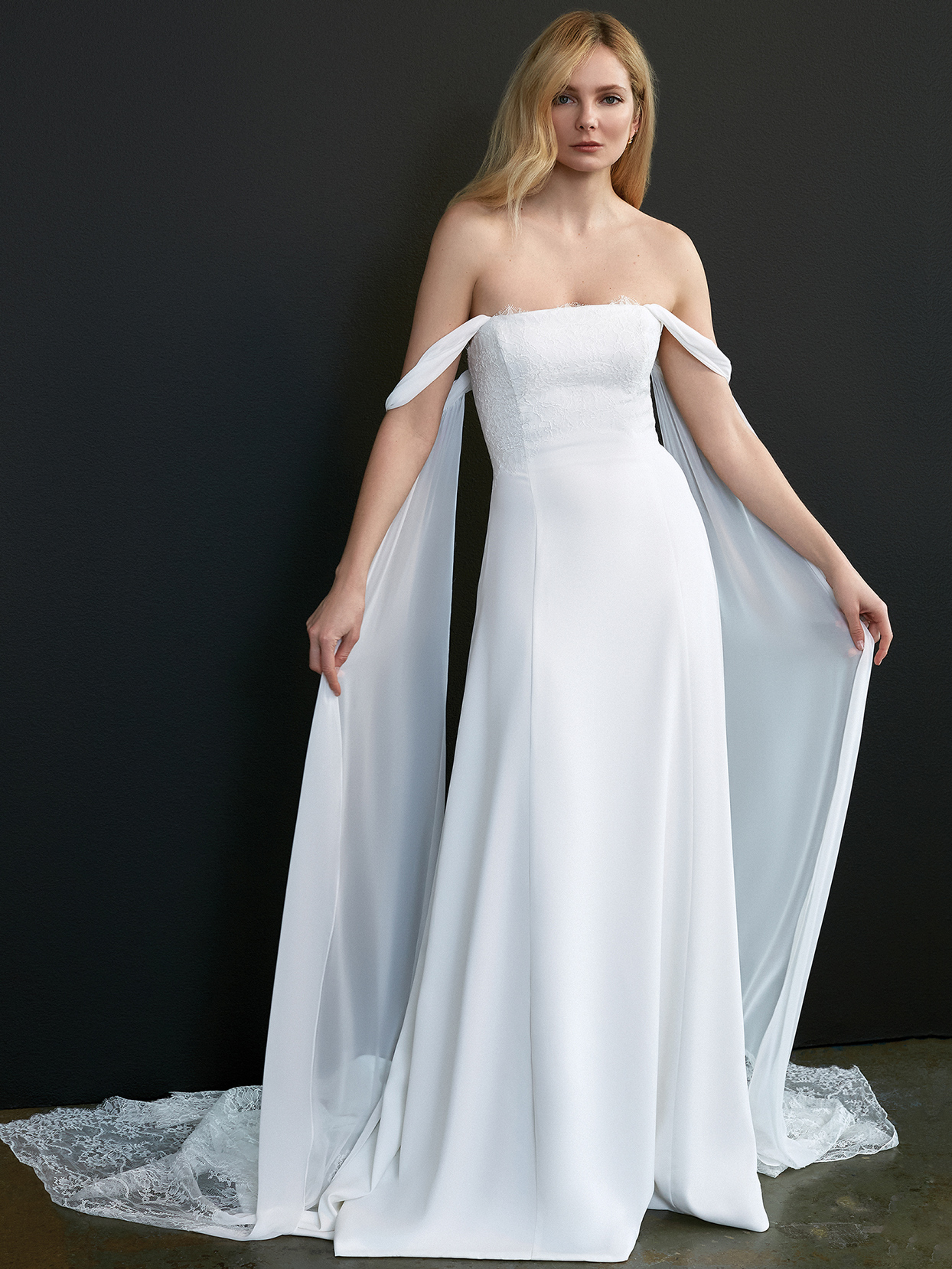 savannah miller off the shoulder cape wedding dress spring 2021