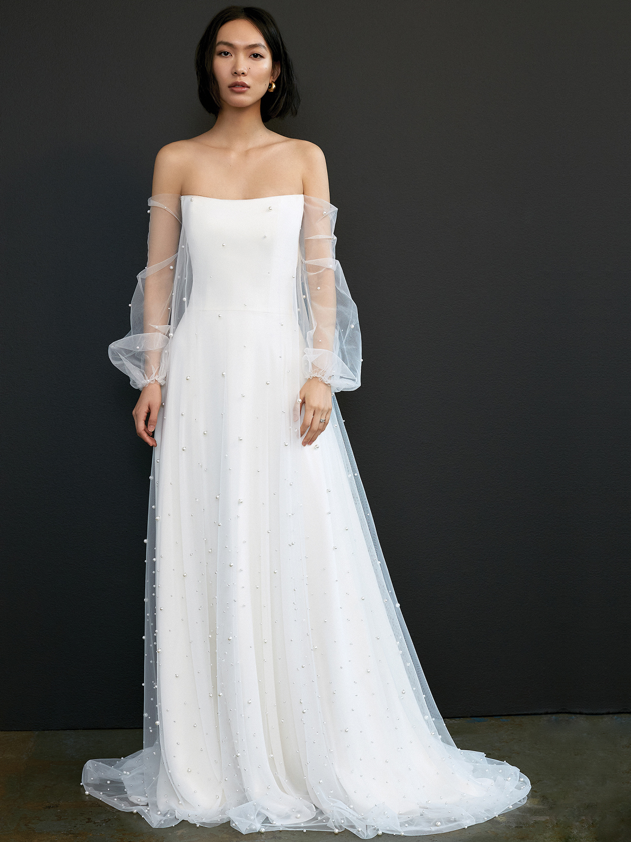 savannah miller tulle long sleeve beaded wedding dress spring 2021