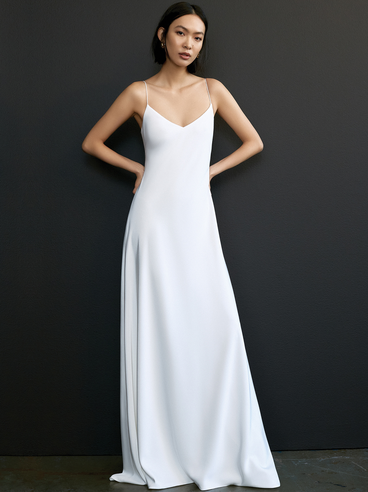 savannah miller thin strap v-neck wedding dress spring 2021