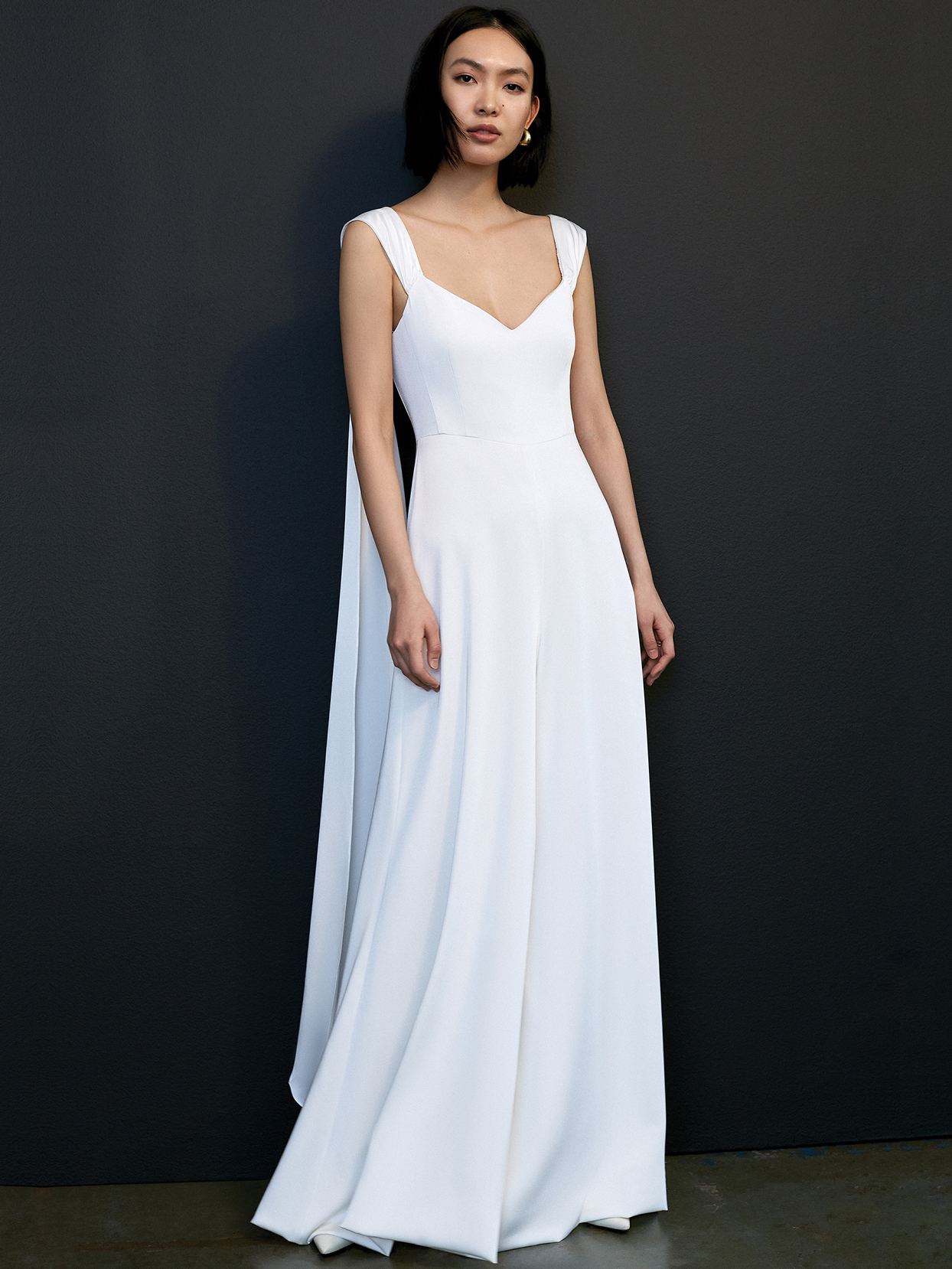 savannah miller thick strap v-neck caplet wedding dress spring 2021