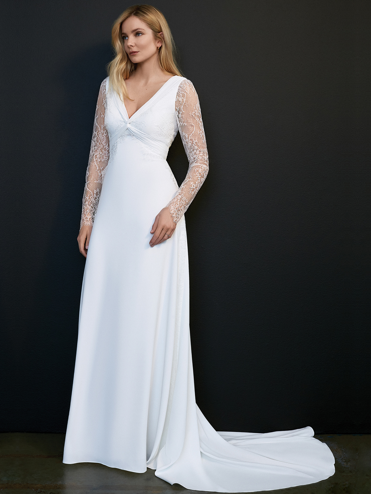 savannah miller v-neck lace long sleeve wedding dress spring 2021