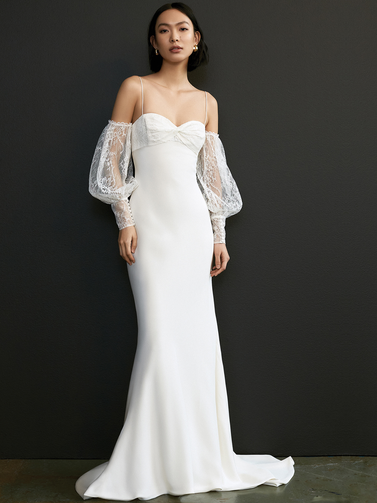 savannah miller lace off the shoulder long sleeve wedding dress spring 2021