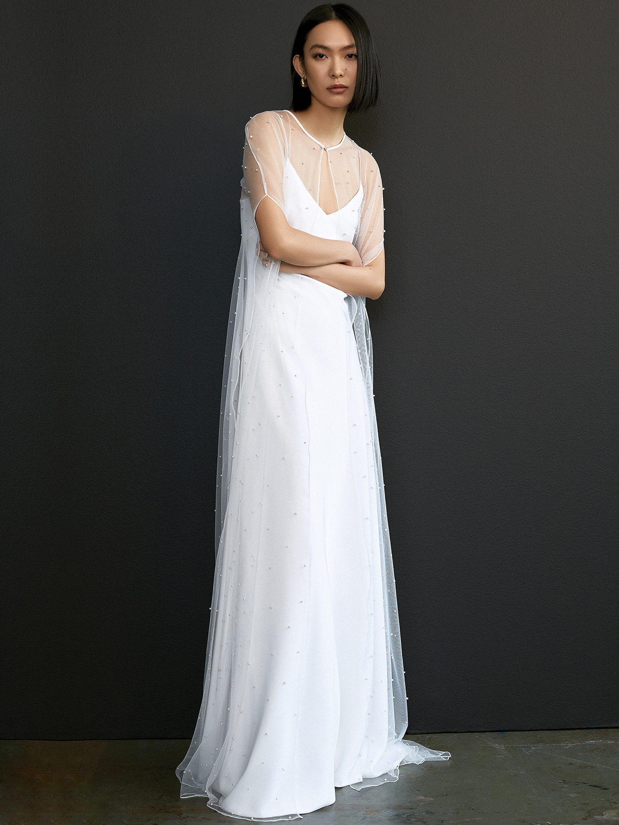 savannah miller sheer short sleeve beaded cover wedding dress spring 2021