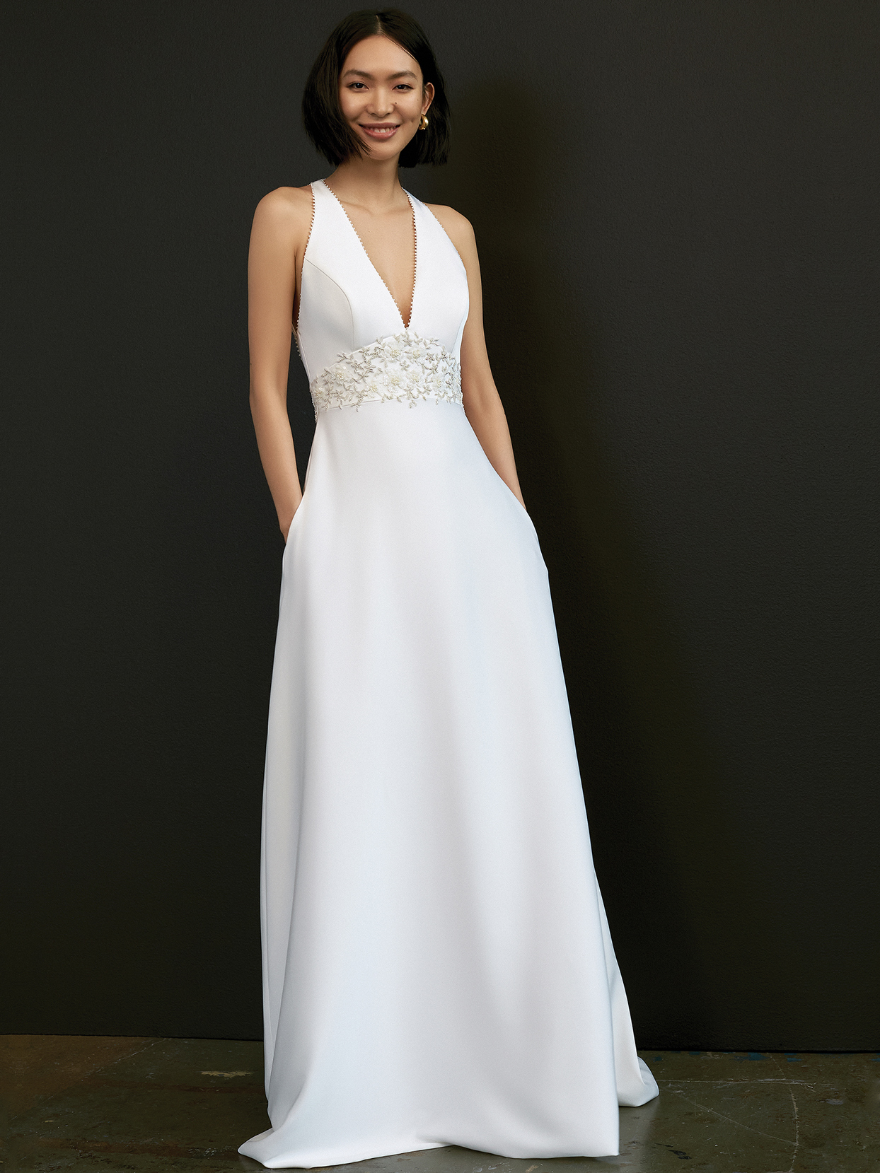 savannah miller deep v-neck beaded waist accent wedding dress spring 2021