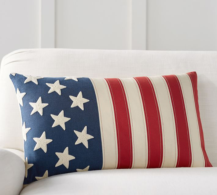 pottery barn flag embroidered lumbar pillow cover