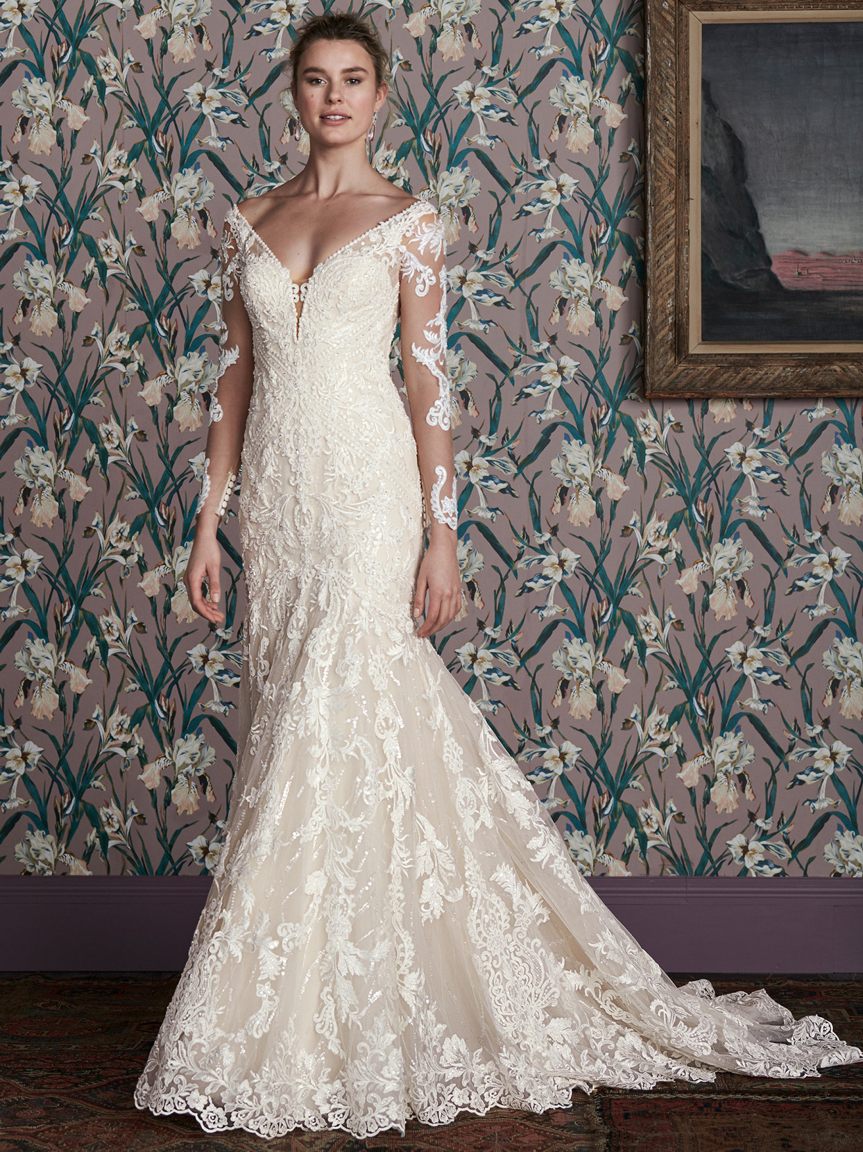 justin alexander lace long sleeve trumpet wedding dress spring 2021