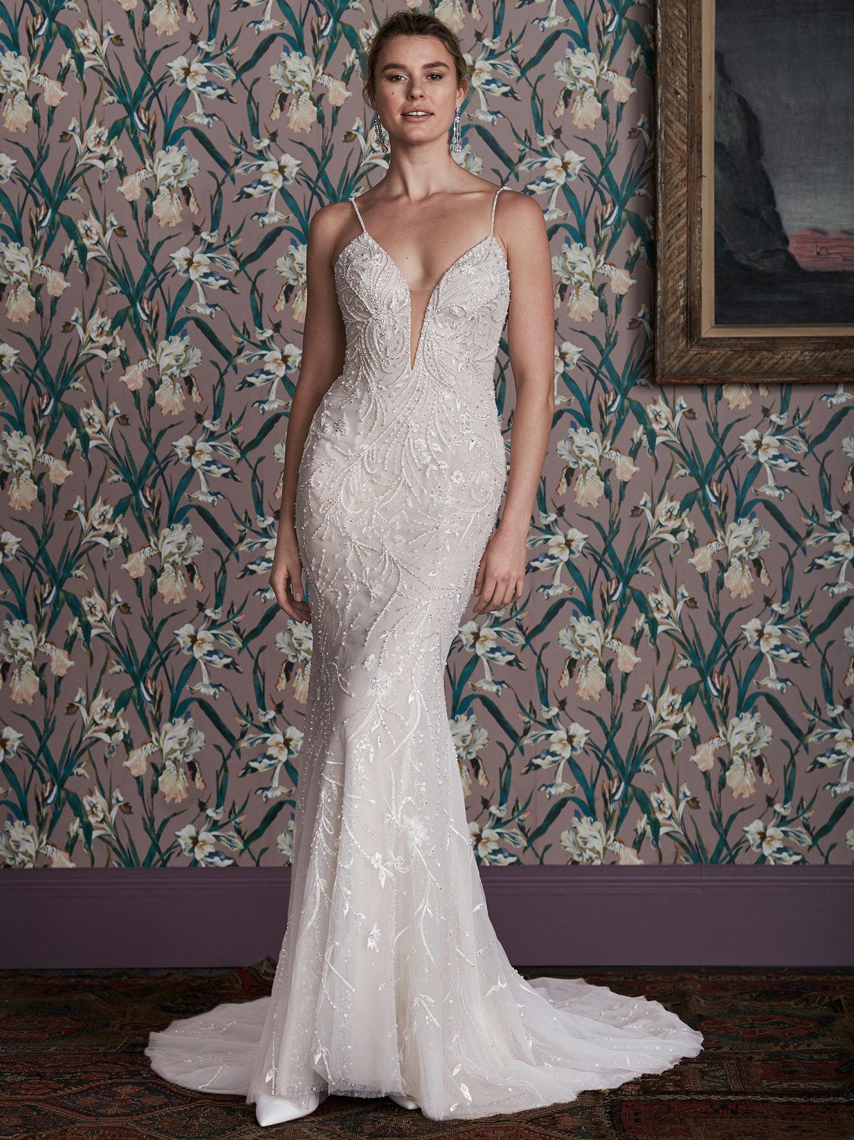 justin alexander plunging v-neck thin strap fitted wedding dress spring 2021