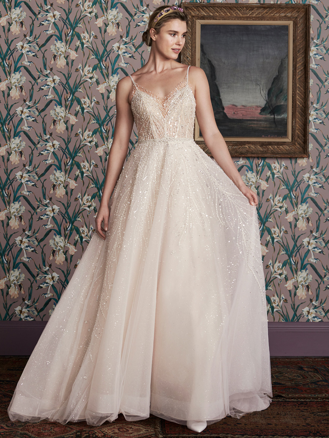 justin alexander beaded thin strap a-line wedding dress spring 2021