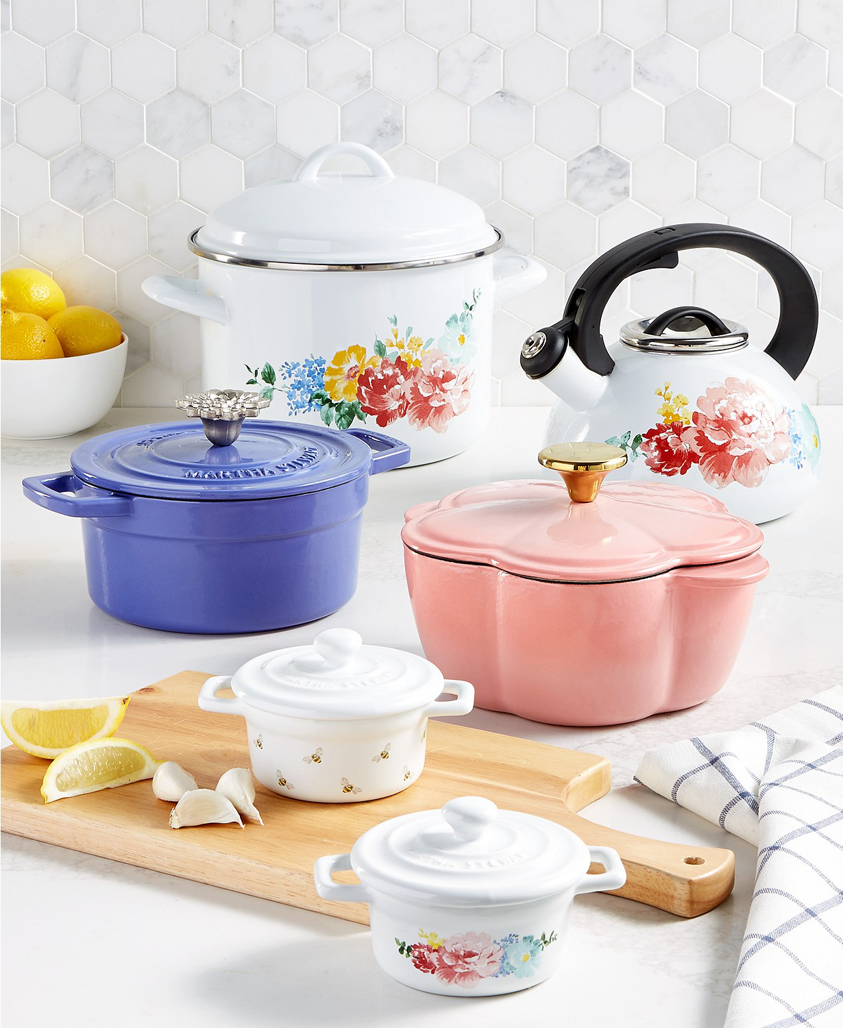 martha stewart collection floral enameled cast iron cookware