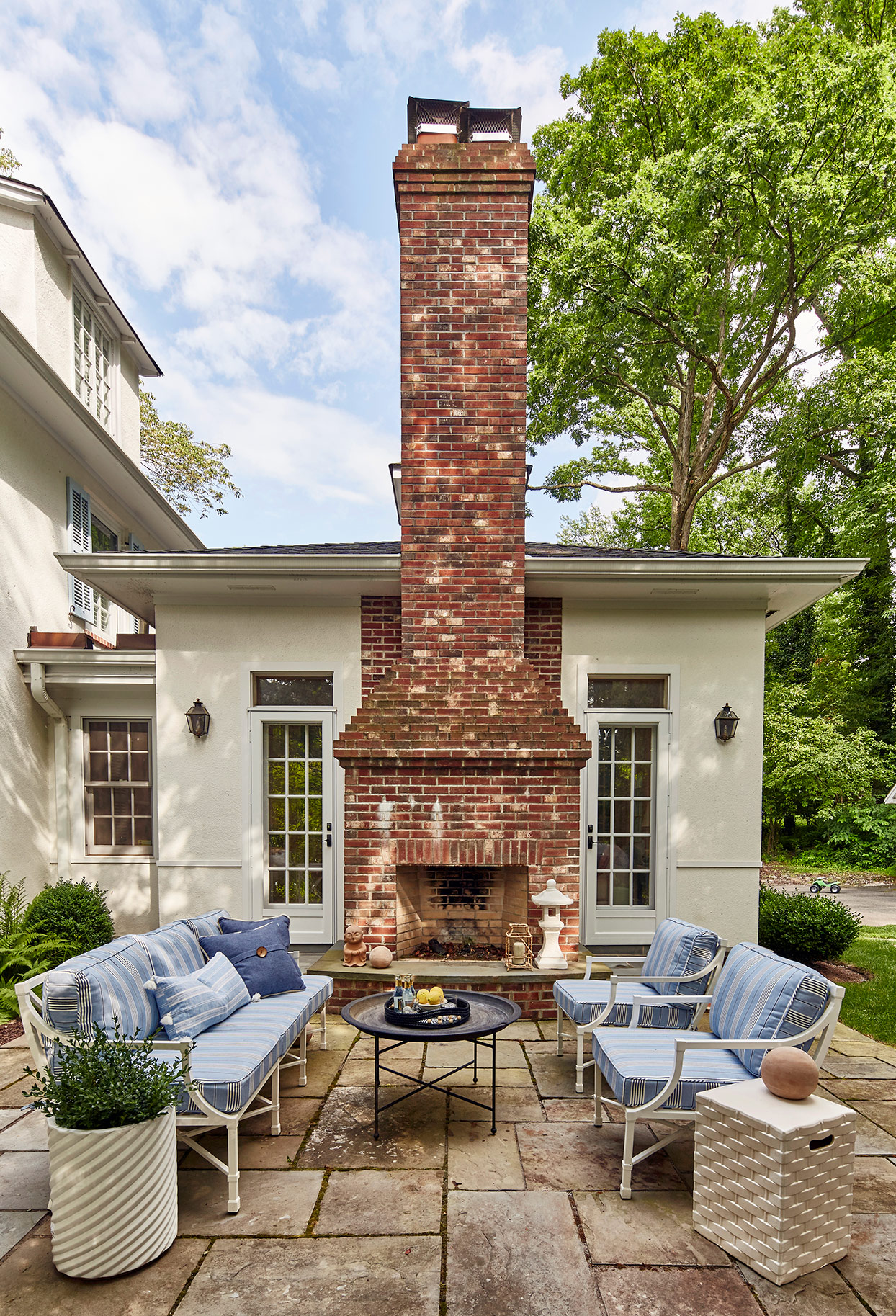 Outdoor seating with chimney