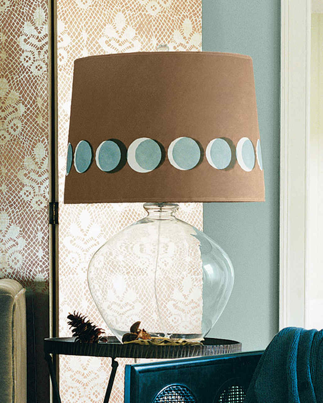 lunar stenciled lampshade