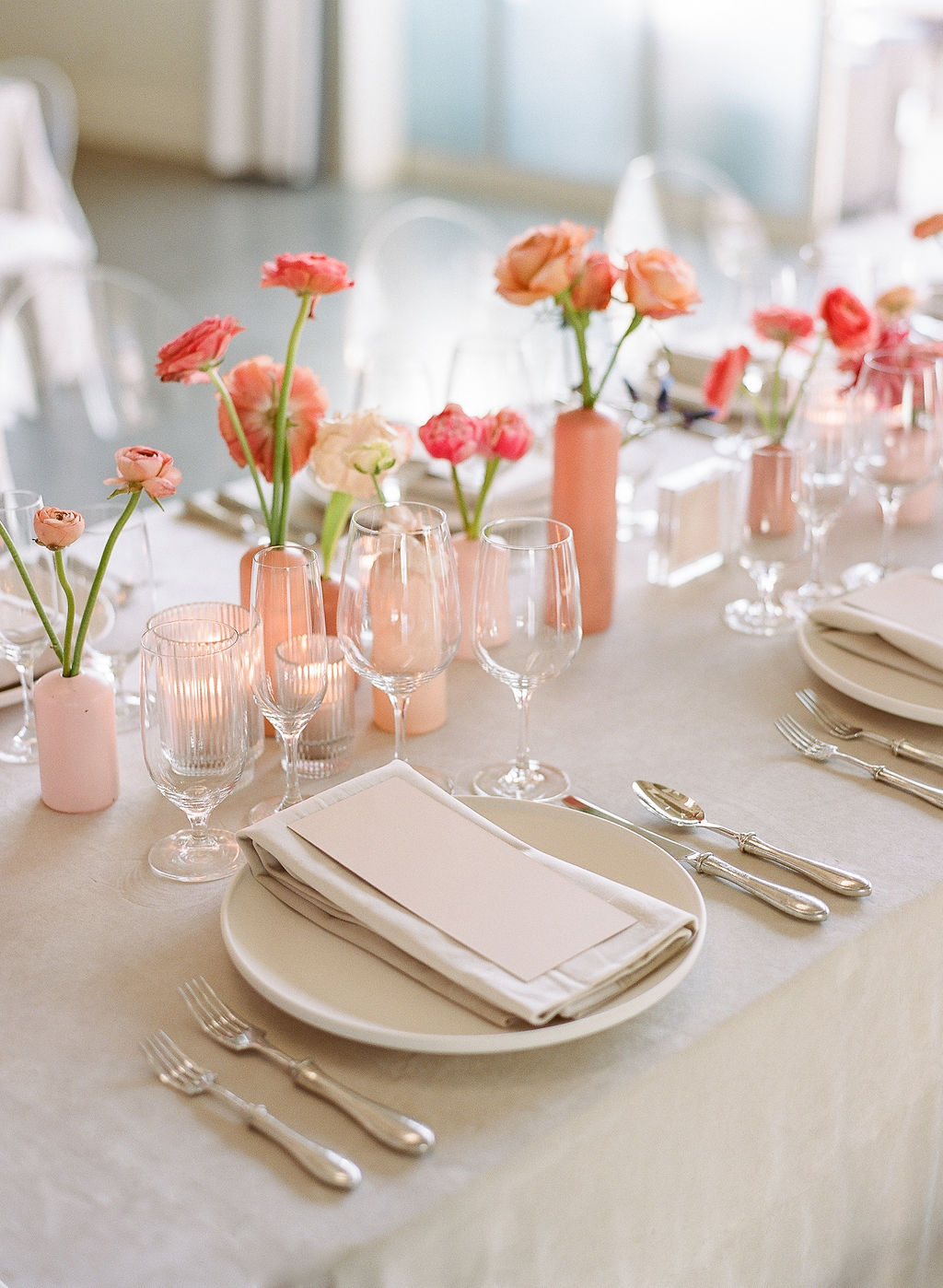 neutral and pink elegant wedding place settings