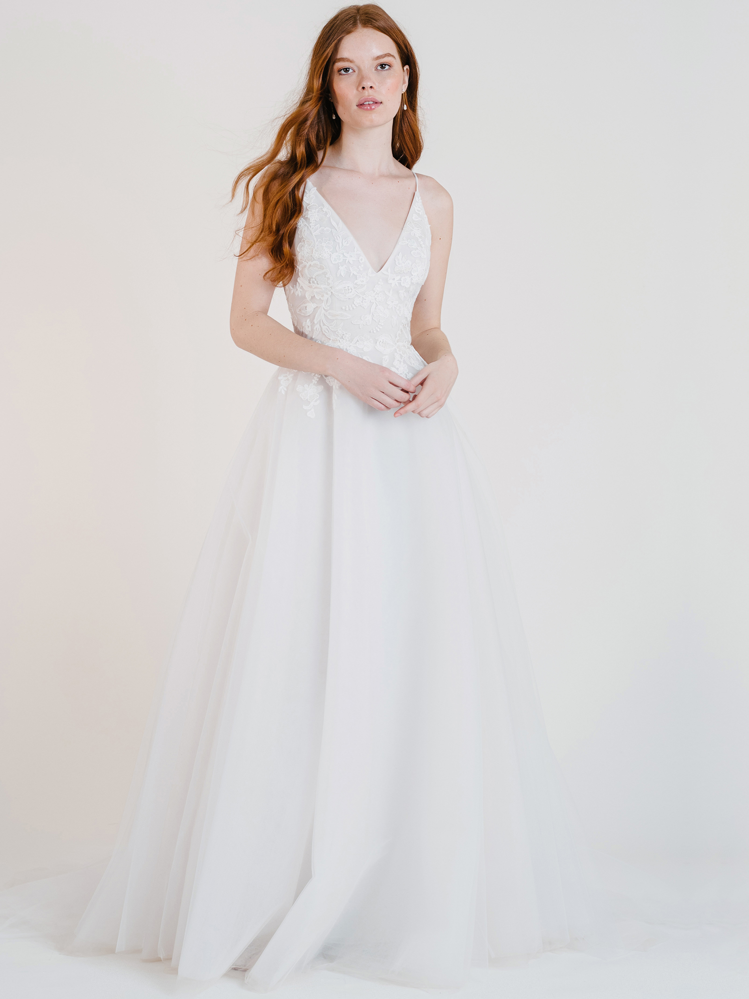 jenny by jenny yoo v-neck lace bodice a-line wedding dress fall 2020