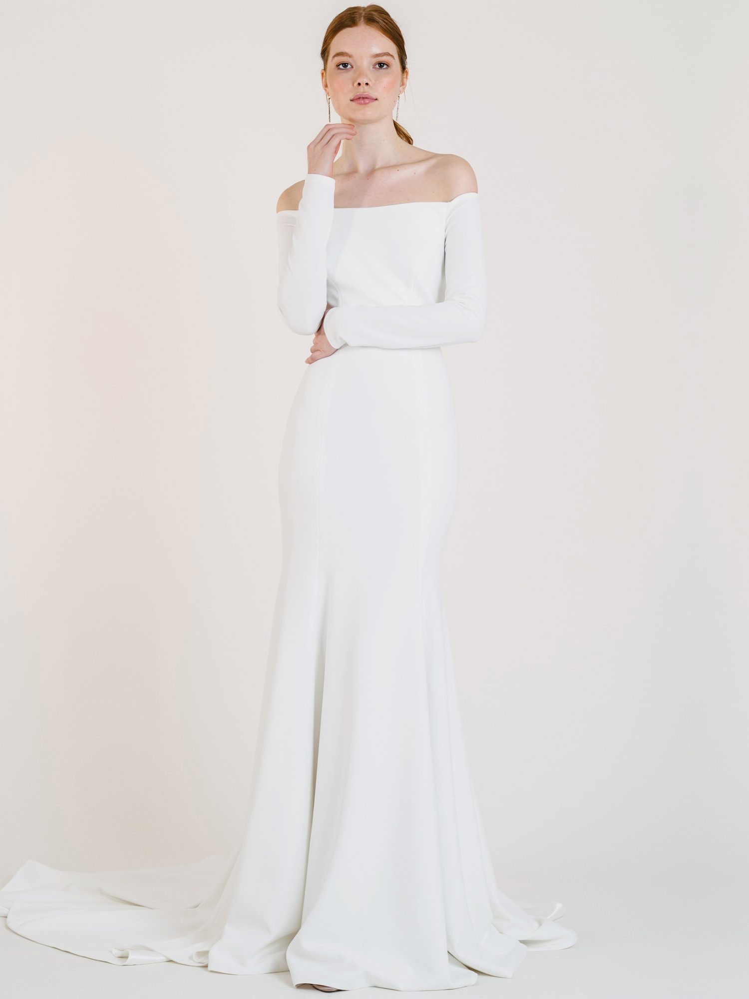 jenny by jenny yoo off-the-shoulder long sleeve fitted wedding dress fall 2020