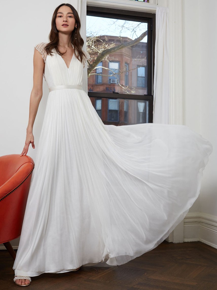 BHLDN cap sleeve rouched v-neck a-line skirt wedding dress fall 2020