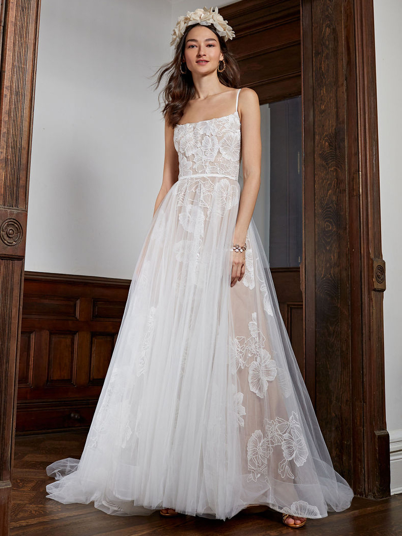 BHLDN straight across lace tulle overlay skirt wedding dress fall 2020