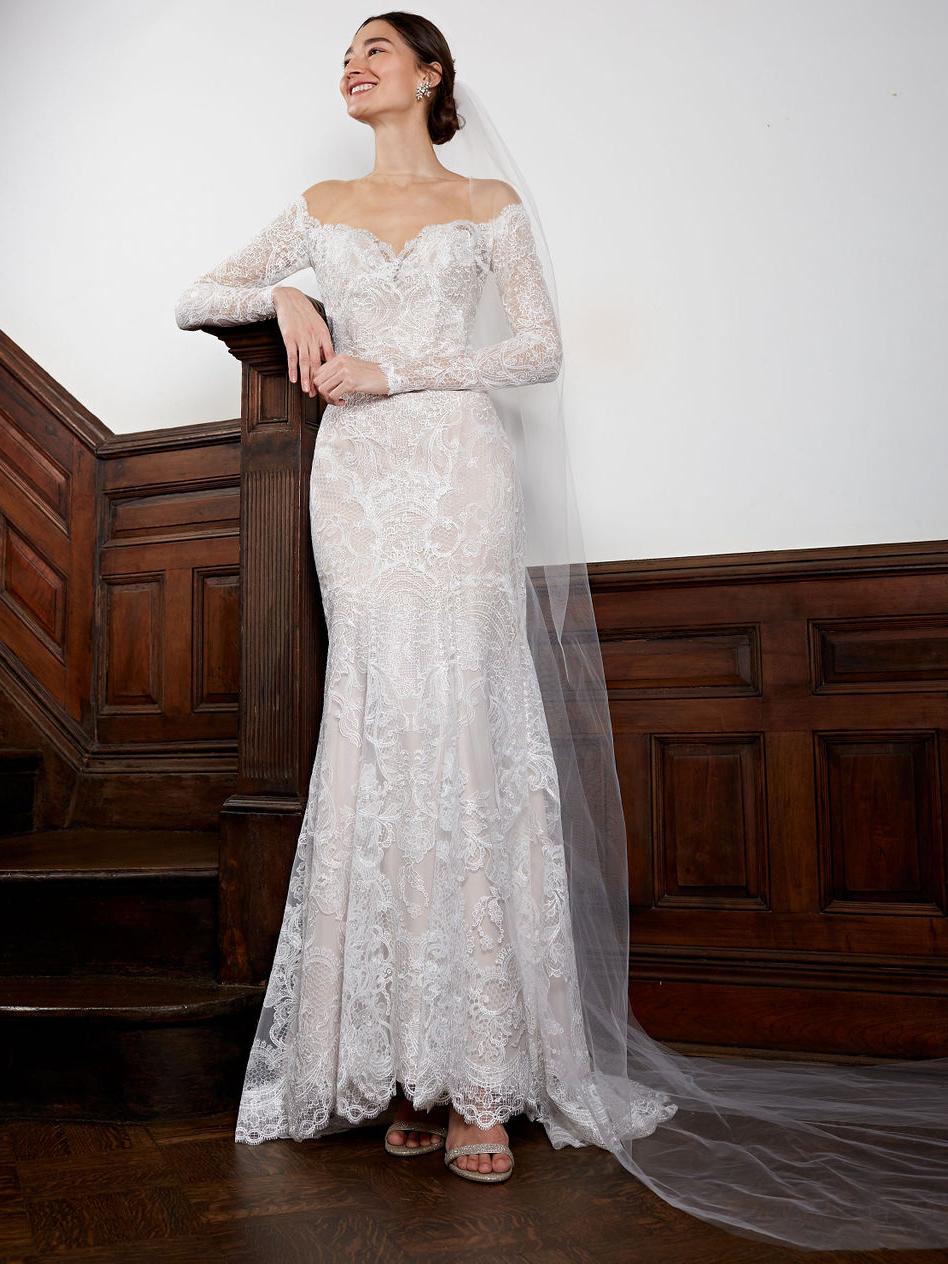 BHLDN off-the-shoulder long sleeve lace wedding dress fall 2020
